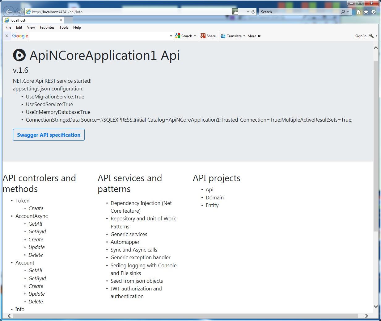 ApiNCoreE-REST API  NET Core template - Visual Studio